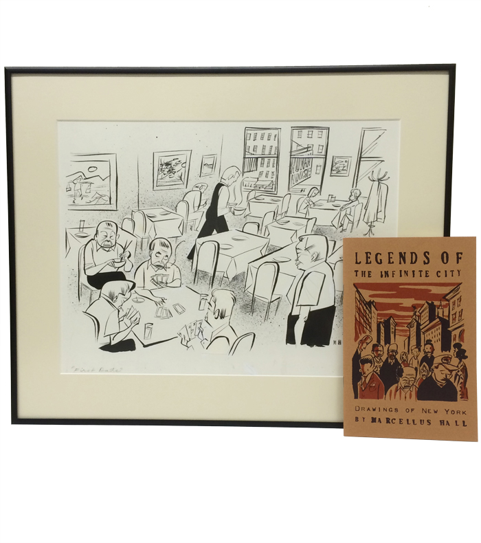 """Legends of the Infinite City: Drawings of New York; WITH: framed original pen-and-ink drawing, """"First Date"""" Marcellus Hall."""