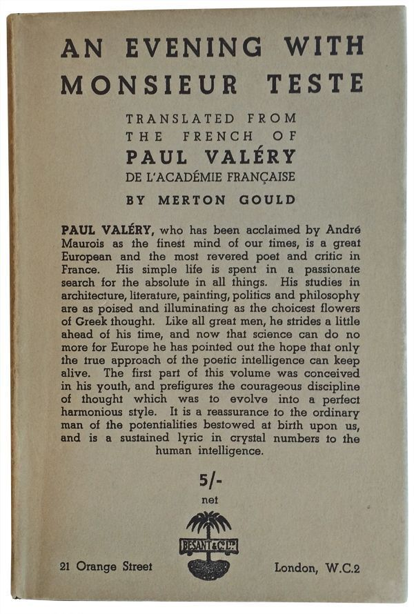 An Evening with Monsieur Teste. Translated from the French of Paul Valéry de l'Académie Française. Paul Valéry, Merton Gould.