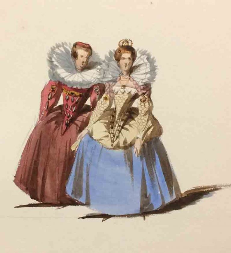 Two Albums of Costume Watercolors by Coke Smyth, 1842, with Notes by Victoria and Albert