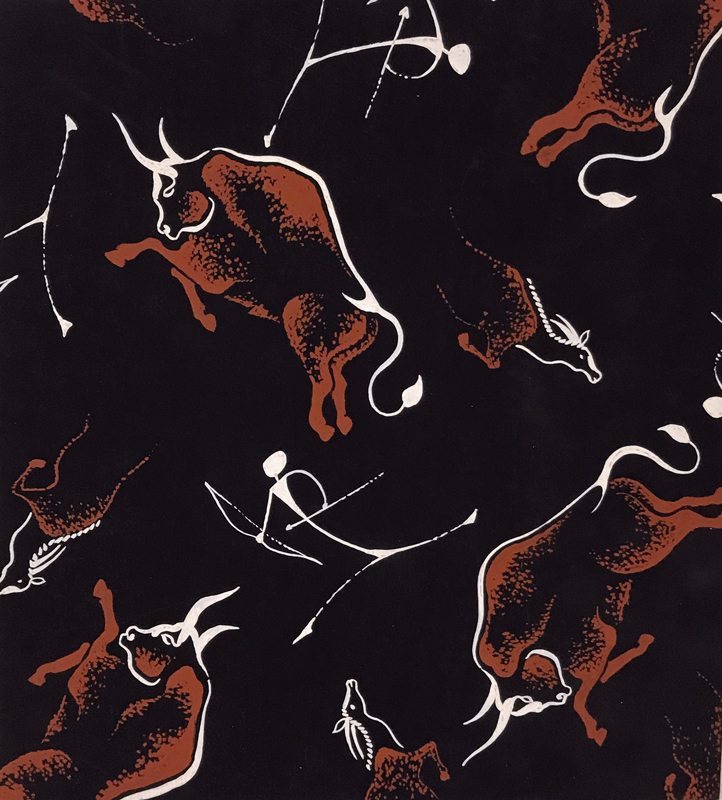 Original gouache pattern inspired by Paleolithic cave paintings. DESIGN.