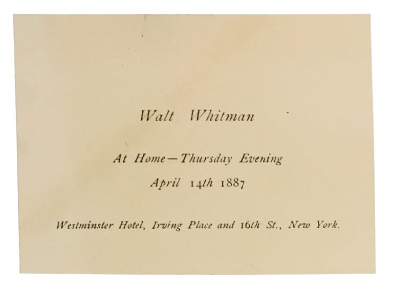"Invitation to private reception following Whitman's lecture, ""The Death of Abraham Lincoln"". Walt Whitman, Abraham Lincoln."