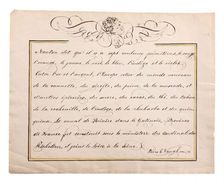 Early American calligraphic French lesson. MANUSCRIPT, Lewis C. Vaughan.