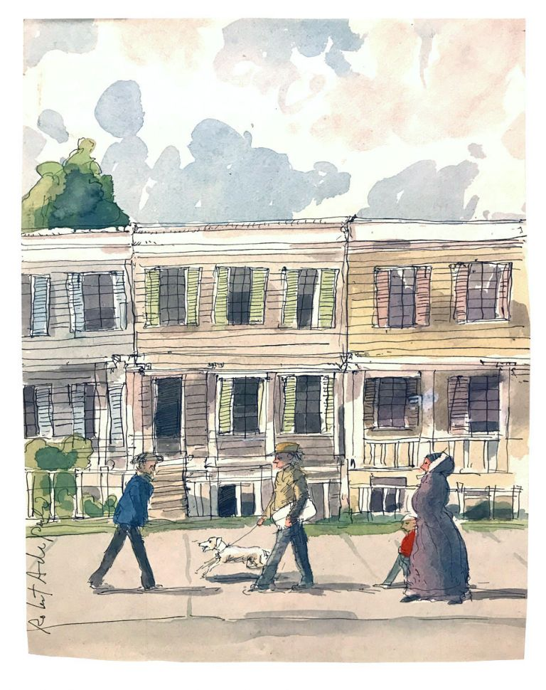 Original watercolor depicting Walt Whitman's Brooklyn home during the first printing of Leaves of Grass. Walt Whitman, Robert Andrew Parker.