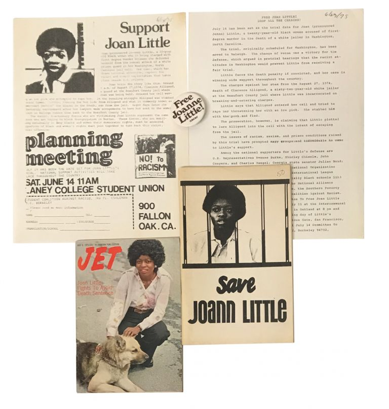 Five pieces of ephemera related to the Joan Little murder trial. Joan Little, Angela Davis.
