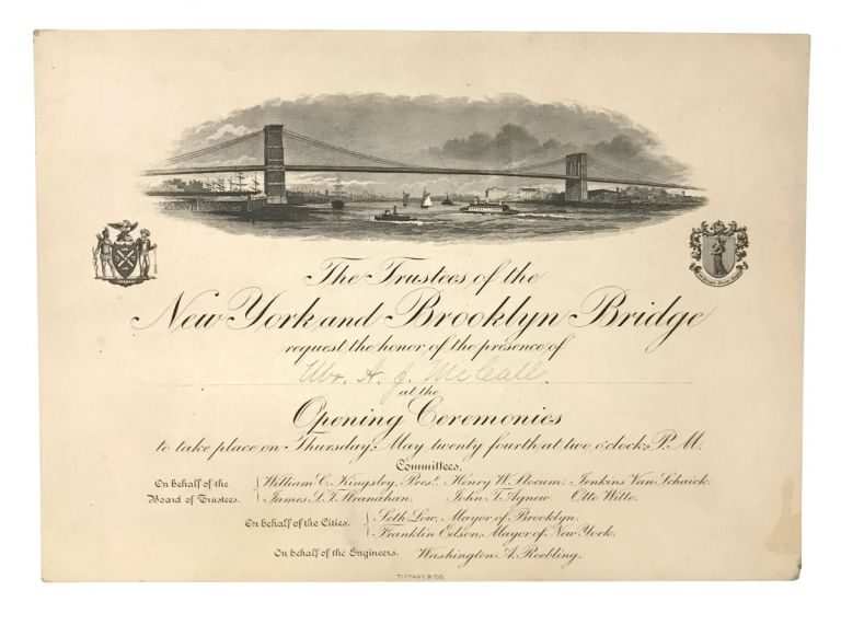 Engraved invitation to the opening ceremonies of the Brooklyn Bridge. EPHEMERA.
