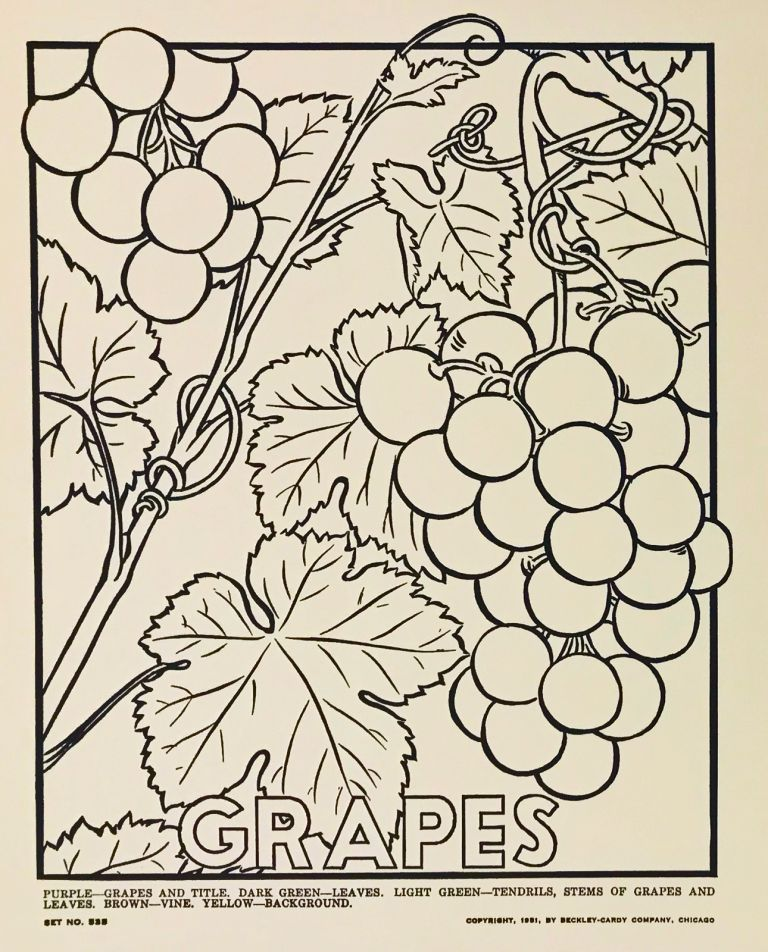 Picture Posters to Color: Fruits and Vegetables. DESIGN, F. Raymond Elms.