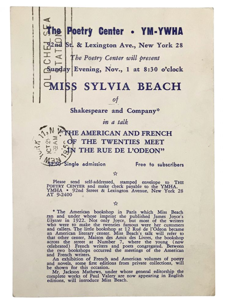 """Announcement of Sylvia Beach's talk, """"The American and French of the Twenties Meet in the rue de L'Odeon"""". Sylvia Beach, Fred McDarrah."""