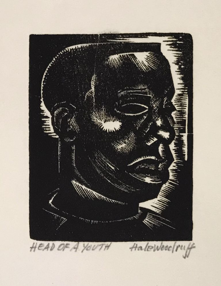 """Hale Woodruff: 50 Years of His Art; with """"Head of a Youth"""" (original signed woodcut); with: related ephemera. Hale Woodruff, Romare Bearden, Albert Murray, introduction, interviewer."""