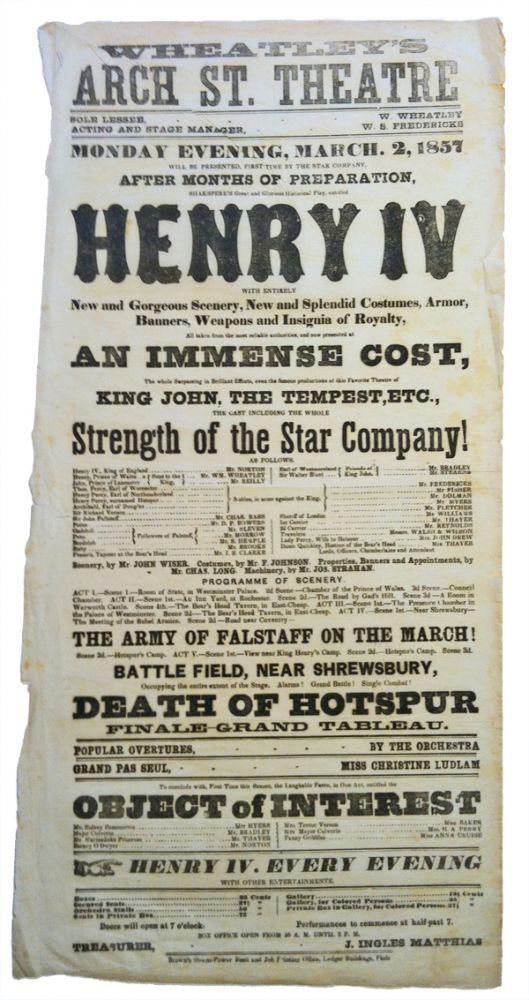 Henry IV (theatrical broadside). William Shakespeare.