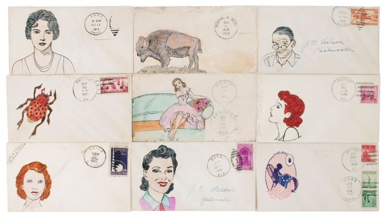 Collection of nine comic illustrated envelopes sent by small-town American postmasters. MAIL ART.