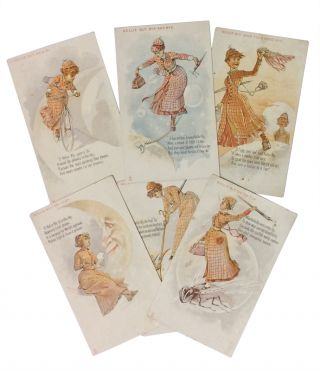 Six Trade Cards Depicting Nellie Bly's Trip Around the World
