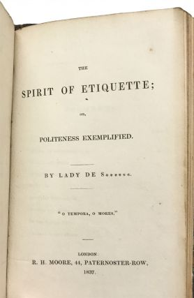 Clio: or, a Discourse on Taste. Addressed to a Young Lady. BOUND WITH: The Spirit of Etiquette; or, Politeness Exemplified