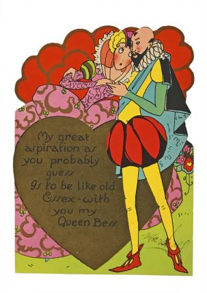 Art Deco valentine featuring Elizabeth and Essex. EPHEMERA, Elizabeth I., Robert Devereux, Earl of Essex.