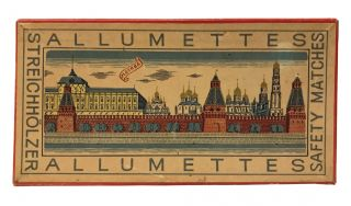 Set of pictorial matchboxes featuring the towers of the Kremlin
