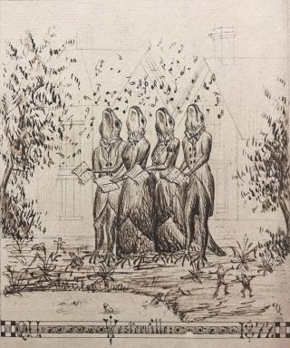 Drawing of a frog quartet in Victorian dress. EPHEMERA.