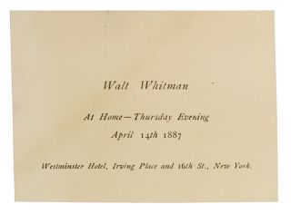 "Invitation to private reception following Whitman's lecture, ""The Death of Abraham..."