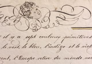 Early American calligraphic French lesson