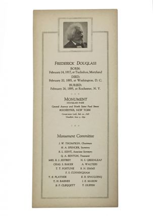 Commemorative card depicting Rochester's monument to Frederick Douglass