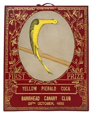 Group of six gilt-tooled morocco prize cards for the Barrhead Canary Club, Scotland