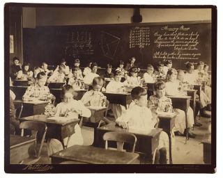 Classroom Photograph of Schoolchildren with Butterfly Specimens. EDUCATION