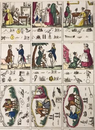 Uncut hand-colored engraved sheet of French rebus puzzles