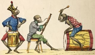 Engraved hand-colored broadsheet of musical monkeys. EPHEMERA