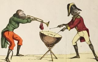 Engraved hand-colored broadsheet of musical monkeys