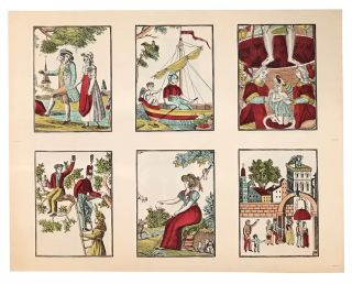 Sheet of six Épinal prints, domestic and religious subjects
