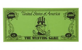 The Westing Game; with: Newbery and Caldecott Awards dinner program for 1979; with: The Westing Game souvenir $1000 bill