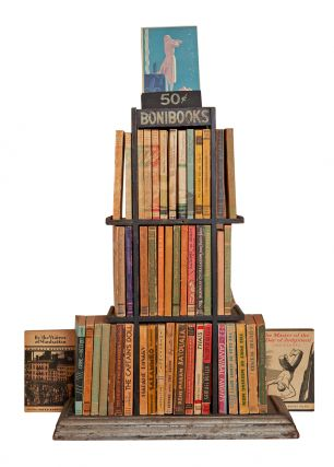 Complete run of Boni Paper Books and Bonibooks, with publisher's original wooden display shelf....