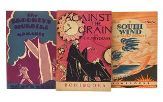Complete run of Boni Paper Books and Bonibooks, with publisher's original wooden display shelf