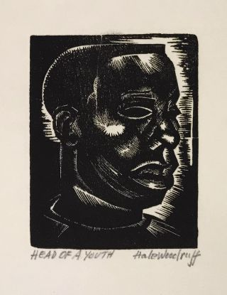 "Hale Woodruff: 50 Years of His Art; with ""Head of a Youth"" (original signed woodcut); with:..."