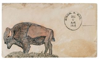 Collection of nine comic illustrated envelopes sent by small-town American postmasters